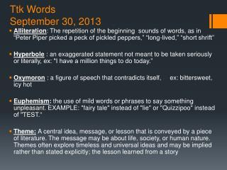 Ttk Words September 30, 2013