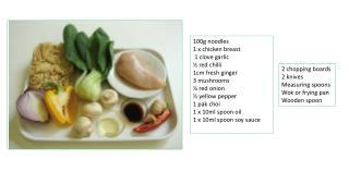 100g noodles  1 x chicken breast  1 clove garlic  ½ red chilli  1cm fresh ginger  3 mushrooms