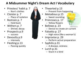 A Midsummer Night�s Dream Act I Vocabulary