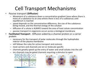 Cell Transport Mechanisms