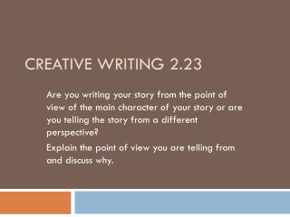 Creative Writing 2.23