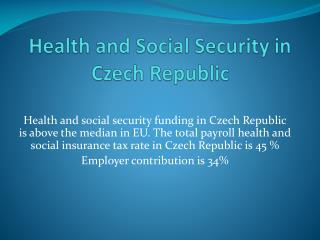 Health and Social Security in Czech Republic