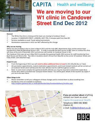We are moving to our W1 clinic in Candover Street  End Dec 2012