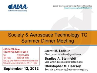 Society & Aerospace Technology TC Summer Dinner Meeting