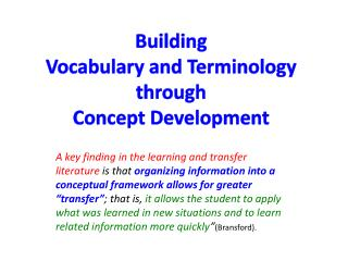 Building  Vocabulary and Terminology  through Concept Development
