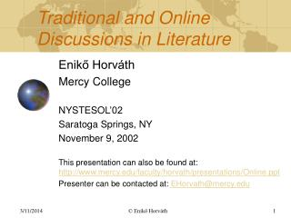 Traditional and Online Discussions in Literature