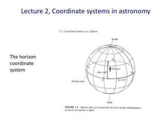 Lecture 2, Coordinate  systems in astronomy