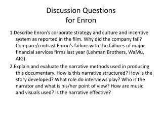 Discussion Questions for Enron