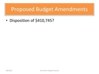 Proposed Budget Amendments