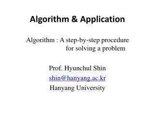 Algorithm & Application