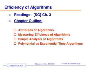 Efficiency of Algorithms