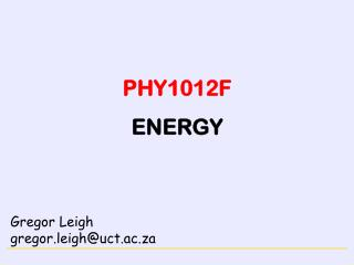 PHY1012F ENERGY