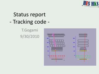 Status report -  Tracking code -