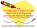 A Comparison of Cognitive Load Associated with Discovery Learning and Worked Examples  By Juhani E. Tuovinen and John S