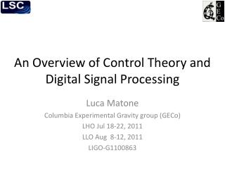 An Overview of Control Theory and Digital Signal Processing