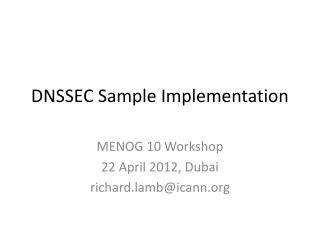 DNSSEC Sample Implementation
