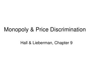 Monopoly  Price Discrimination