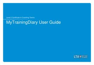 MyTrainingDiary  User Guide