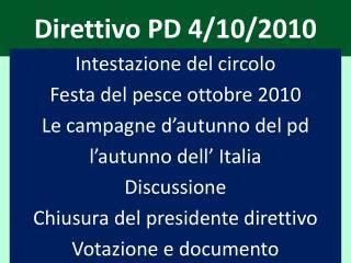 Direttivo PD 4/10/2010