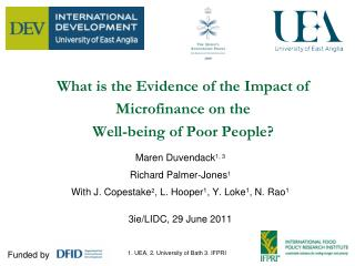 What is the Evidence of the Impact of Microfinance on the  Well-being of Poor People?