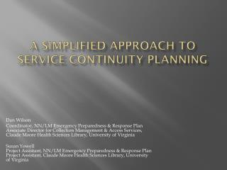 A Simplified Approach to Service Continuity Planning