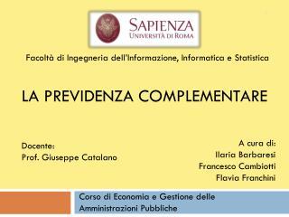 a  cura di: Ilaria Barbaresi Francesco Cambiotti Flavia Franchini