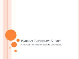 Parent Literacy Night