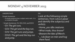 Monday 4 November 2013