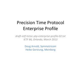 Precision Time Protocol  Enterprise Profile