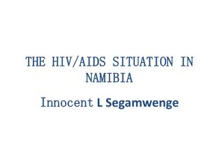 THE HIV/AIDS SITUATION IN NAMIBIA