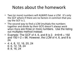 Notes about the homework