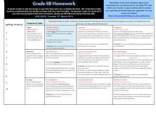 Grade 6B  Homework