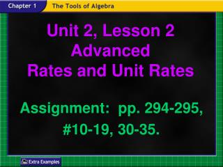 Unit 2, Lesson 2  Advanced Rates and Unit Rates