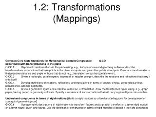 1.2: Transformations (Mappings)