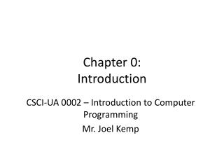Chapter 0: Introduction