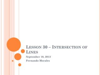 Lesson 30 � Intersection of Lines