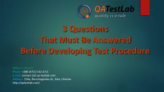 3 Questions That Must Be Answered Before Developing Test Pro