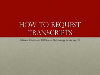 How to Request Transcripts