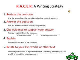 R.A.C.E.R:  A Writing Strategy