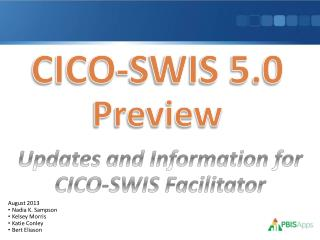 CICO-SWIS 5.0  Preview