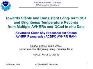 AGU Ocean Sciences Conference 28 February  2014,  Honolulu, HI