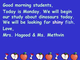 Good morning students,
