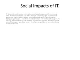 Social Impacts of IT.