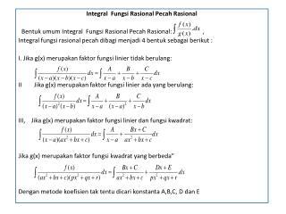 Integral   Fungsi Rasional Pecah  Rasional
