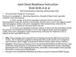 Joint Stock Readiness Instruction DLAI 4145.4 et al DoD Stock Readiness Meeting, 28 November  2012