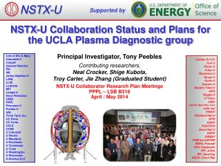 NSTX-U Collaboration Status and Plans  for the UCLA Plasma Diagnostic group