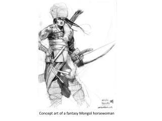 Concept art of  a fantasy Mongol horsewoman
