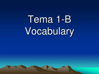 Tema 1-B Vocabulary