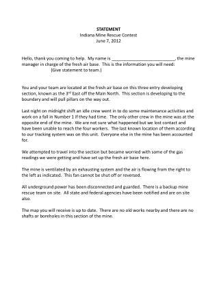 STATEMENT Indiana Mine Rescue Contest June 7, 2012