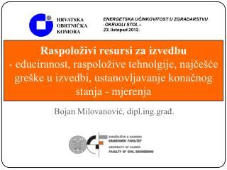 Bojan Milovanović, diplg.građ.